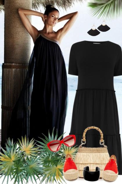 nr 2919 - Summer black dress- Fashion set