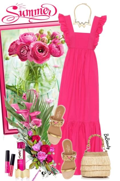 nr 2976 - Hot pink maxi dress
