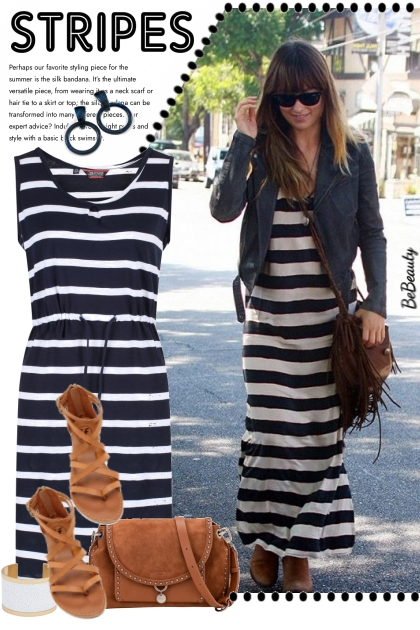 nr 3303 - Striped dress - maxi or midi