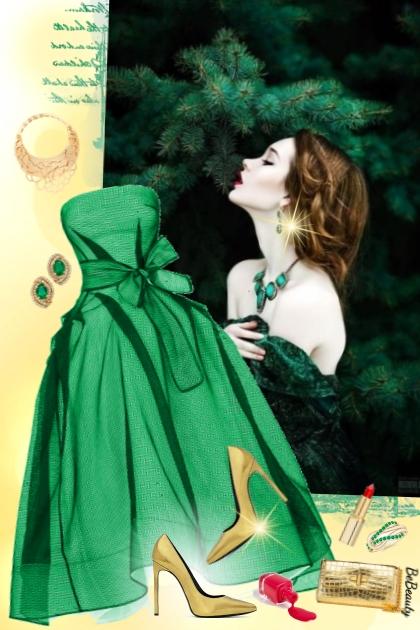 nr 3308 - Emerald green & gold