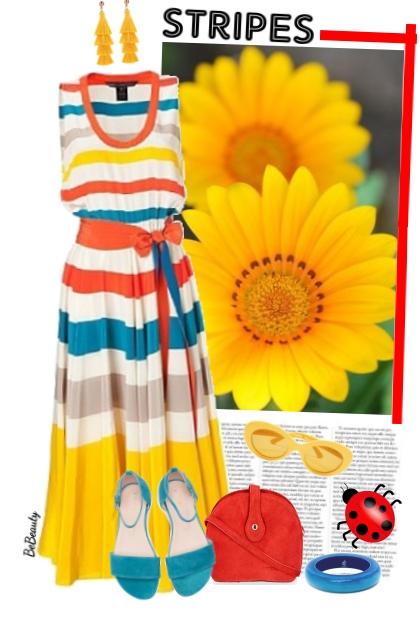 nr 3428 - Colorful striped dress