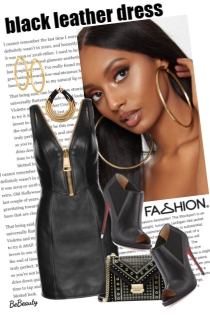 nr 3607 - Black leather dress
