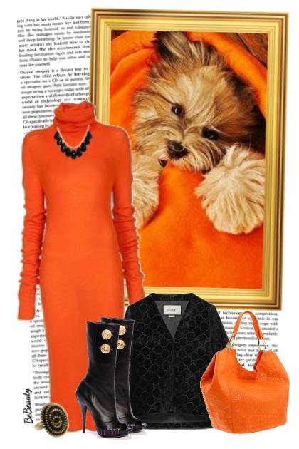 nr 3608 - Orange sweater dress