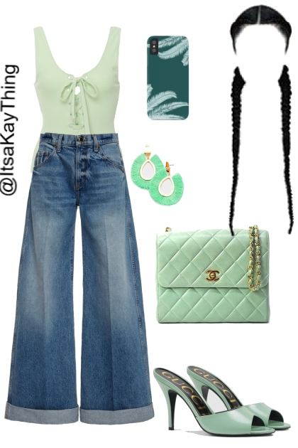 Mint Green & Denim