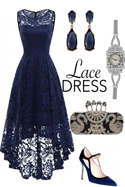 Blue Lace Dress &Matches Outfit