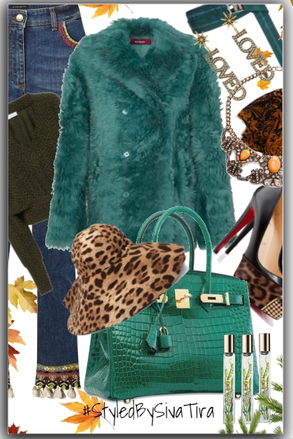 Chic Fall Look With Green &Jeans