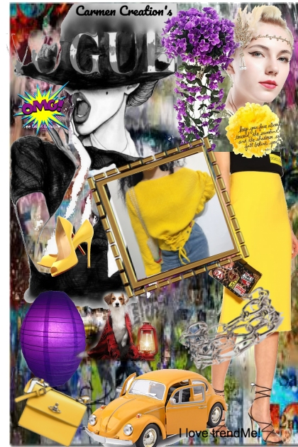 Journi's Yellow Vogue Art Collage- 搭配