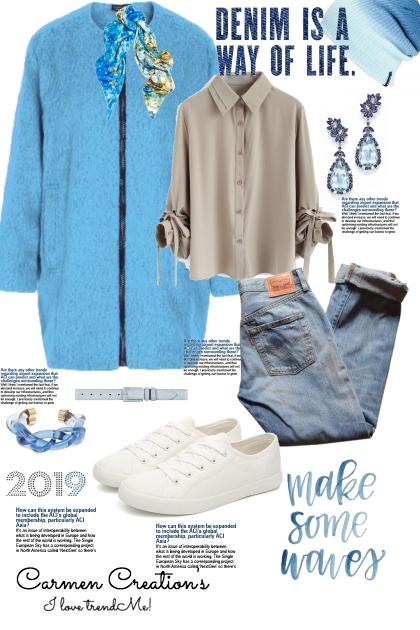 Journi's Fleece Light Blue Jacket Outfit