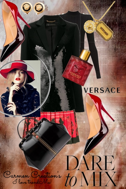 Journi's Versace Black and Red Outfit