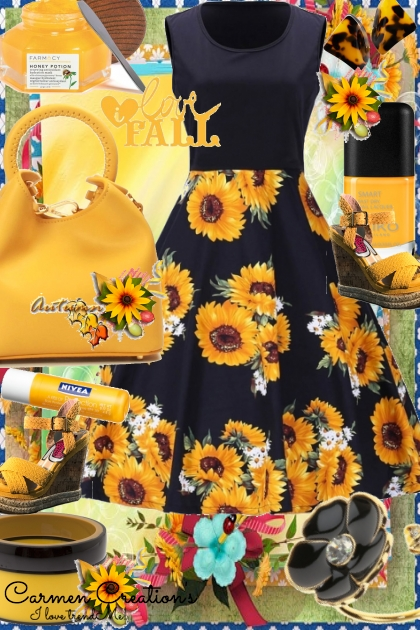 Journi's Autumn Fall Sunflower Dress Outfit