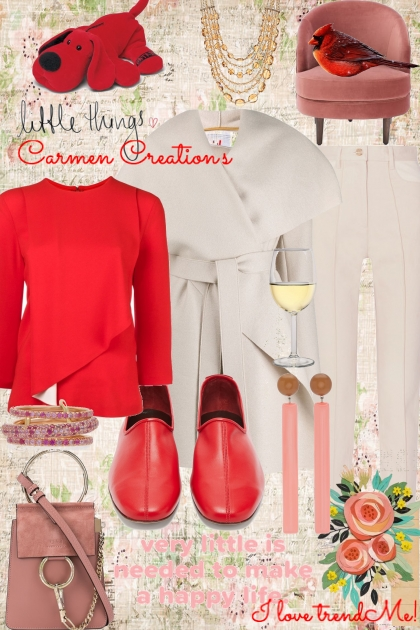Journi's Winter Red And White Outfit- Fashion set