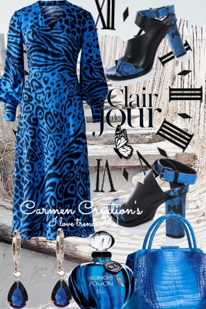 Journi's Cobalt Blue Animal Print Dress Outfit