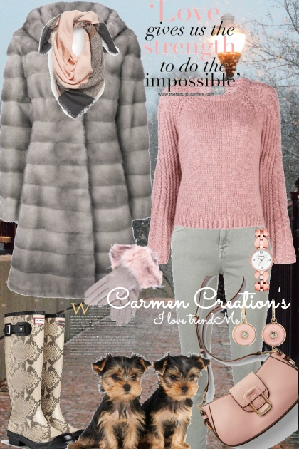 Journi's Grey And Pink Winter Outfit- Combinazione di moda