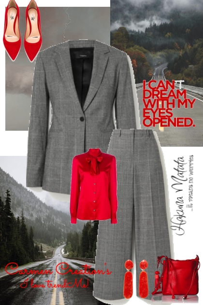 Journi's Grey Stripe Suit With Red Accents Outfit
