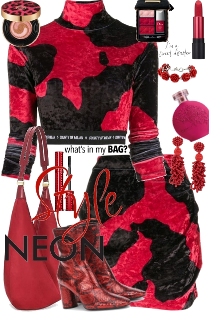 Journi Style Neon Red And Black Outfit