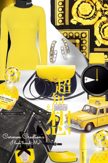 Journi City Yellow And Black Outfit- Modna kombinacija