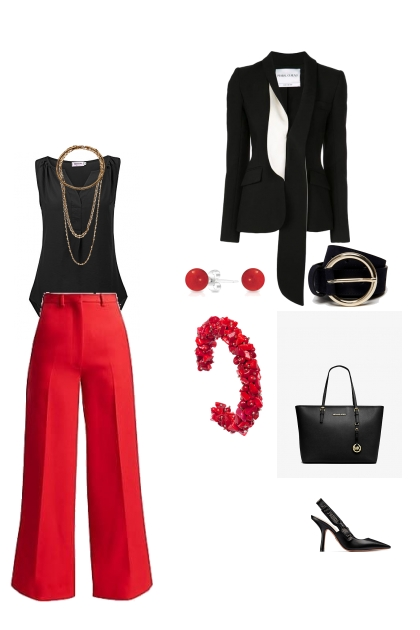 Inverted triangle lady style work wear