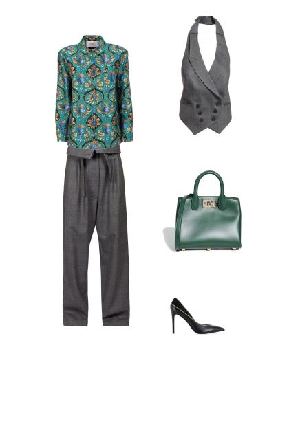 Гаремные брюки яркая блузка