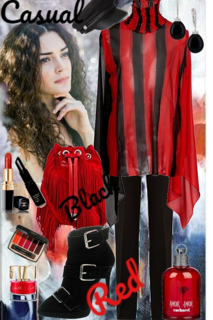 Casual red and black