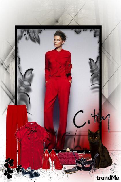 black cat & red woman