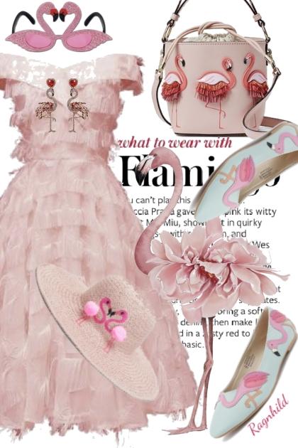 Rosa Kjole og Flamingo