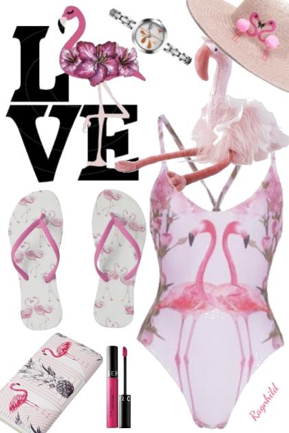 Rosa Flamingo Badedrakt og tilbehør