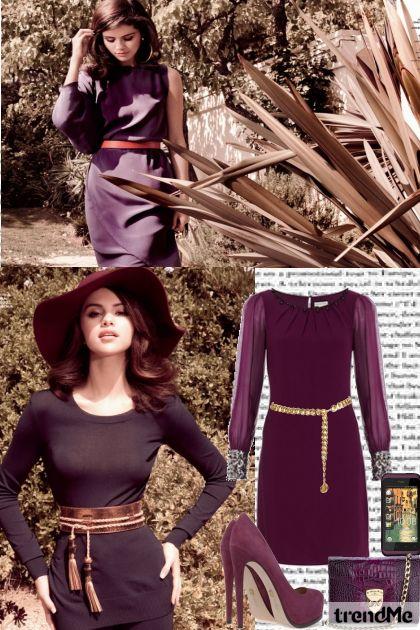 Selena Gomez wears purple
