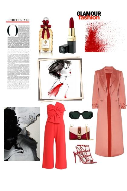 RED JUMPSUIT- Fashion set