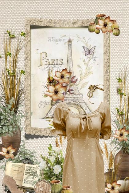 beige dress & ball bag Paris