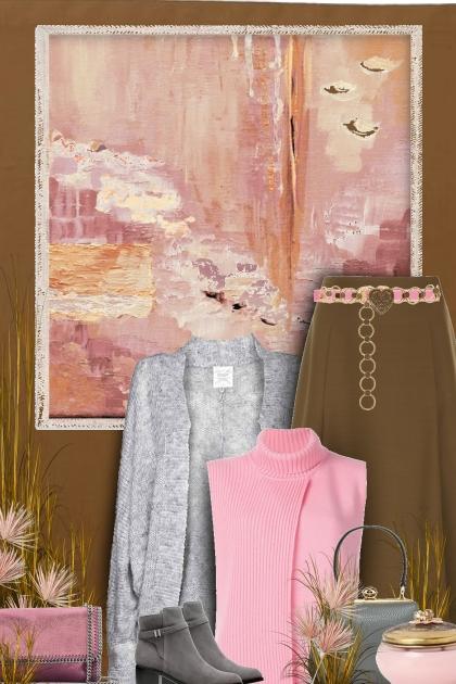 grey pink brown