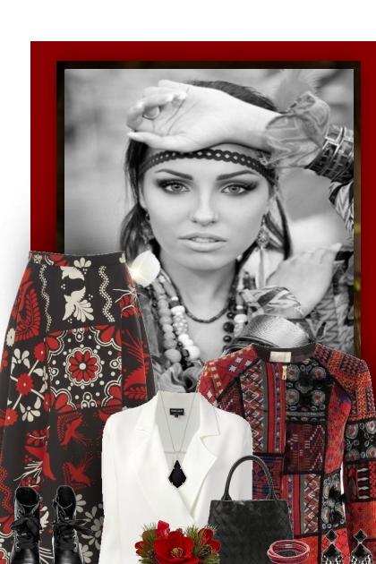 Boho Red, White & Black