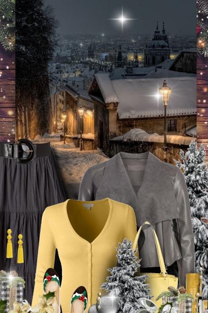 Grey & Yellow Winter- コーディネート