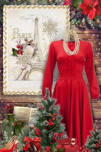 Christmas Paris Red Dress
