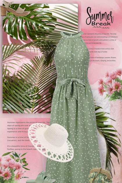 green gown with dots