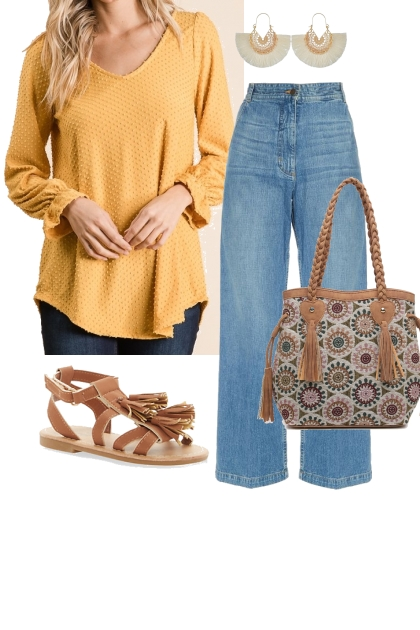 Yellow Swiss Dot Top Outfit 1
