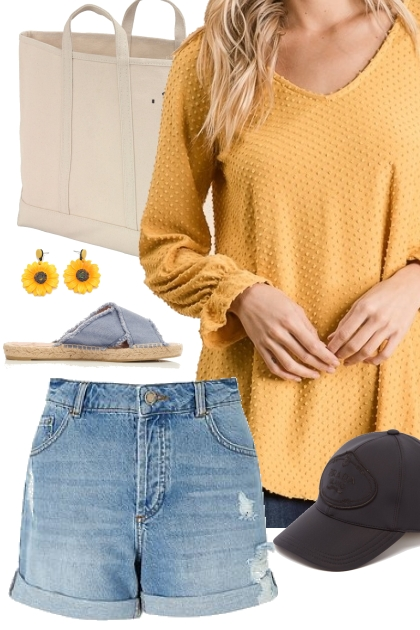 Yellow Swiss Dot Top Outfit 3