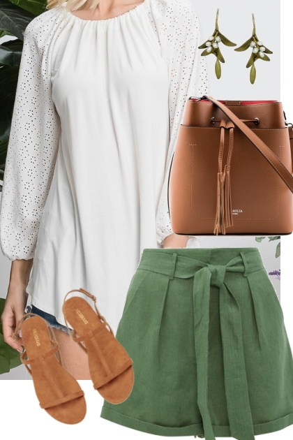 Soft White Blouse w/ Eyelet Sleeves Outfit 2