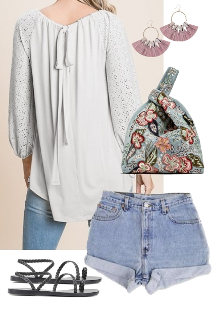 Soft White Blouse w/ Eyelet Sleeves Outfit 4