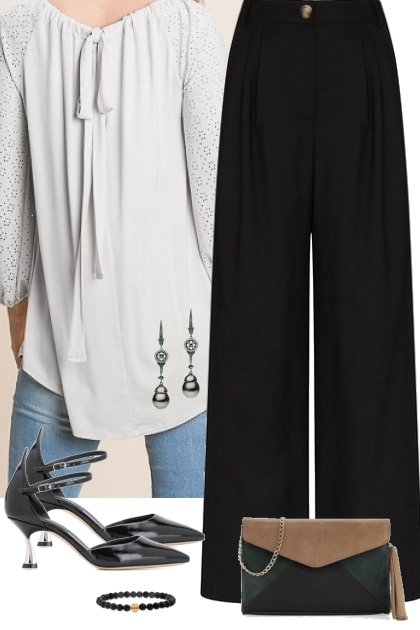 Soft White Blouse w/ Eyelet Sleeves Outfit 5