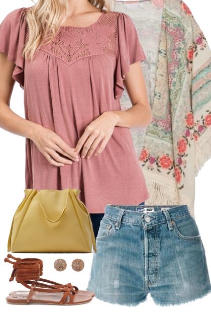 Mauve Flutter Sleeve Top w/ Lace Outfit 1