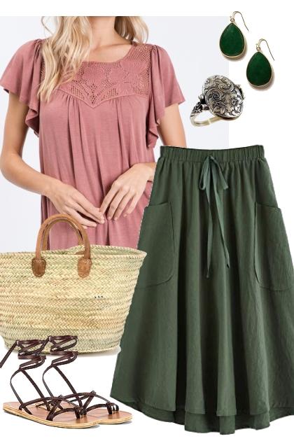 Mauve Flutter Sleeve Top w/ Lace Outfit 2