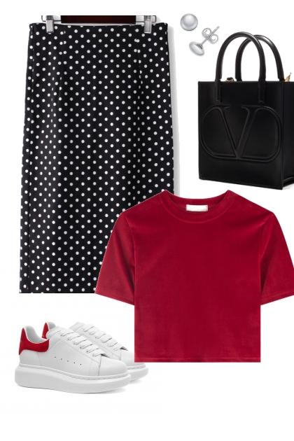 Red, Black, White Polka Dots