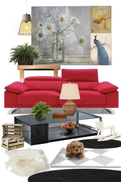 Interior with red sofa - Fashion set
