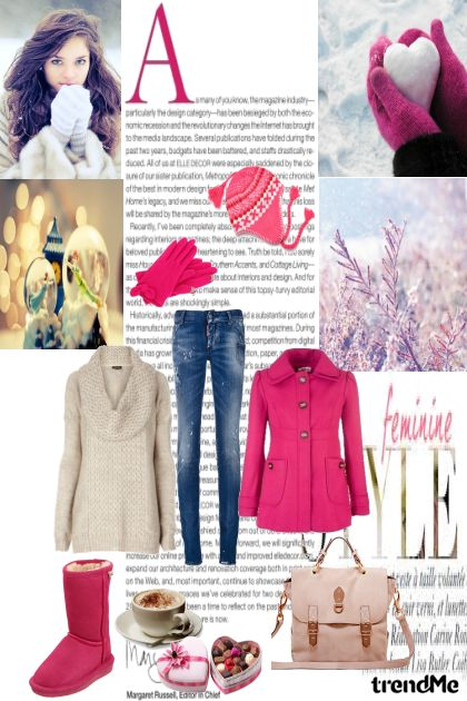 Sweet pink winter love- Fashion set