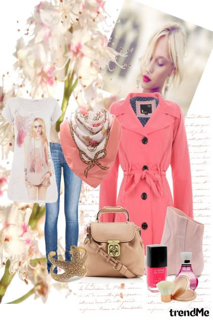 Beige and pink for happy spring day