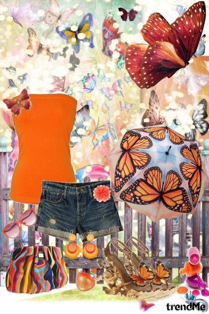 Butterfly In Orange- Fashion set
