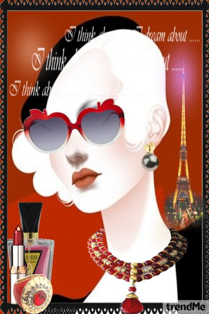 Illustration Vintage fashion girl in Paris