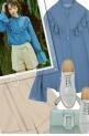 ruffled blue blouse