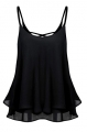 Clothes/footwear details ACEVOG Women Sleeveless Strap Tank Top Chiffon Blouse Hollow Out Back Cami Vest (Shirts)