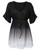 Clothes/footwear details AMZ PLUS Gradient Lace V Neck Joint Sleeve Women's Mid-Long Dress (Dresses)